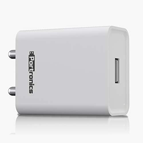 Portronics Adapto 62 POR-1062 USB Wall Adapter with 2.4A Fast Charging Single USB Port Without Cable for All iOS & Android Devices (White)