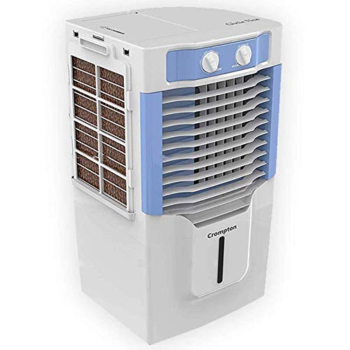 Crompton Ginie Neo(ACGC-PAC10) Tower Air Cooler, Honeycomb Pad and Ice Chamber - 10L, Blue, White