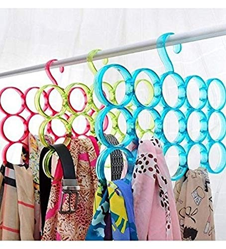 Gadget Appliances Home Storage Rack Hanger Scarf 15 Hole Slot Organizer Belt Storage Tie, Plastic Rack, Slot Rope Ring Holder Hook Scarf Wrap Bag Shawl(Random Color Will be Shipped) Pack of 3