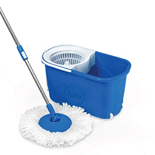 Gala Quick Spin Mop with Wheels and Bucket Floor Cleaning with 2 Microfiber Refills(Light Blue) (145790)
