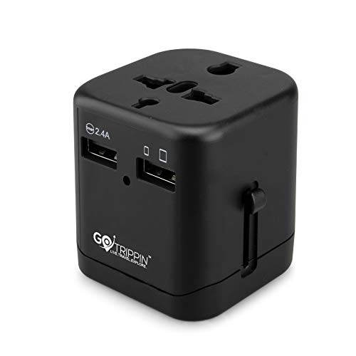 GoTrippin Premium Universal Travel Adapter with Dual USB Charger Ports and Smart Charging (Black), International Worldwide Charger Plug for Phone, Laptop, Mobile, Camera, Tablet