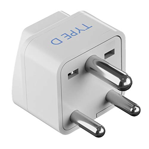 Ceptics (USA, UK, China & More) to India (Type D) Travel Adapter Plug - CE Certified - RoHS Compliant (GP-10)